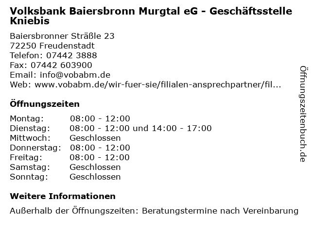 Volksbank Baiersbronn Murgtal eG - Geschäftsstelle Kniebis in Freudenstadt: Adresse und Öffnungszeiten