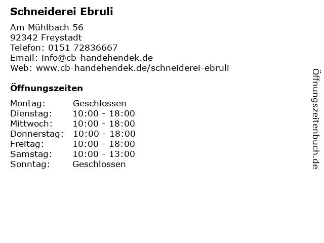 Schneiderei Ebruli in Freystadt: Adresse und Öffnungszeiten