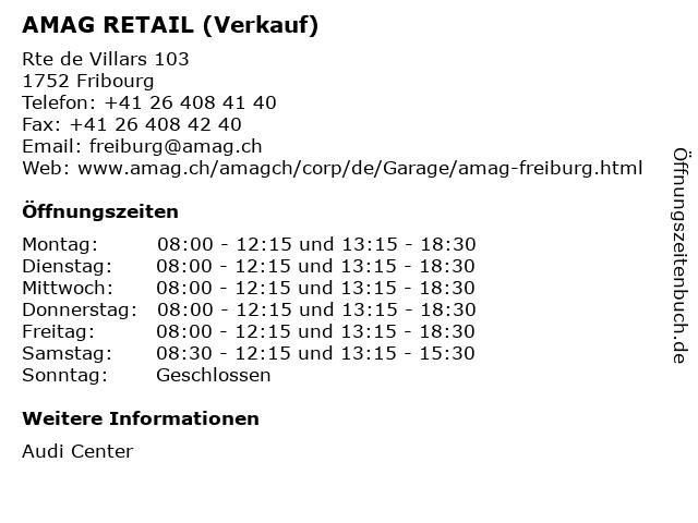 AMAG RETAIL (Verkauf) in Fribourg: Adresse und Öffnungszeiten