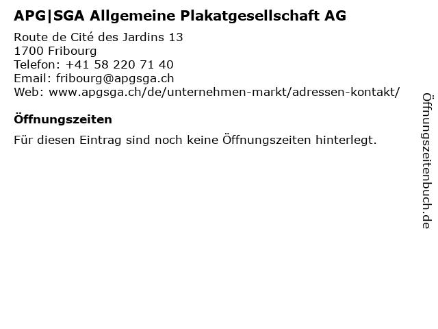 APG|SGA Allgemeine Plakatgesellschaft AG in Fribourg: Adresse und Öffnungszeiten