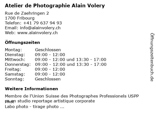 Atelier de Photographie Alain Volery in Fribourg: Adresse und Öffnungszeiten