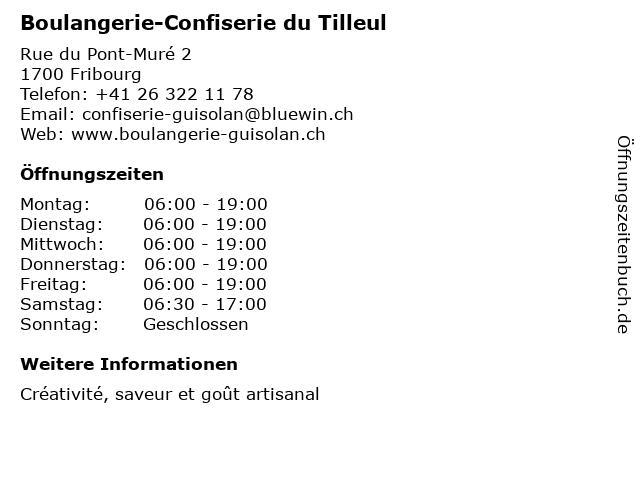 Boulangerie-Confiserie du Tilleul in Fribourg: Adresse und Öffnungszeiten