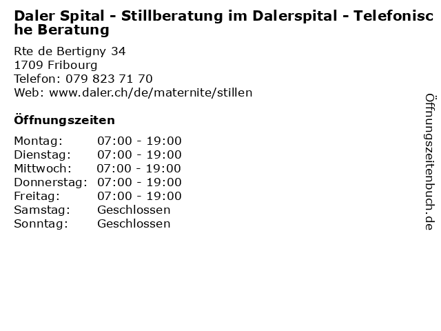 Daler Spital - Stillberatung im Dalerspital - Telefonische Beratung in Fribourg: Adresse und Öffnungszeiten