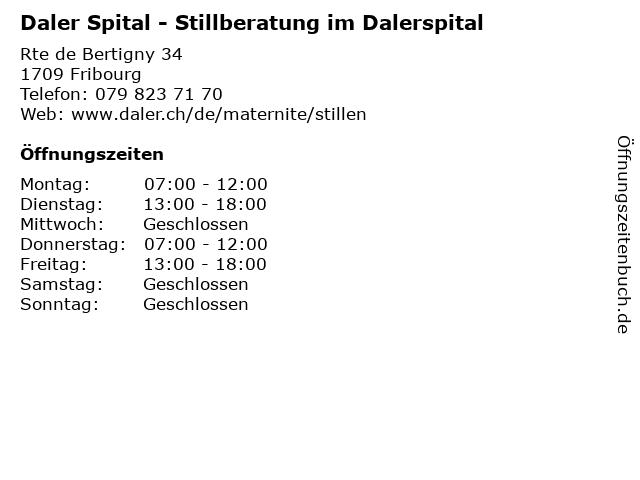 Daler Spital - Stillberatung im Dalerspital in Fribourg: Adresse und Öffnungszeiten