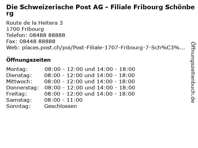 Die Schweizerische Post AG - Filiale Fribourg Schönberg in Fribourg: Adresse und Öffnungszeiten