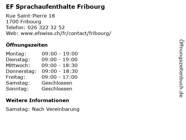 EF Sprachaufenthalte Fribourg in Fribourg: Adresse und Öffnungszeiten