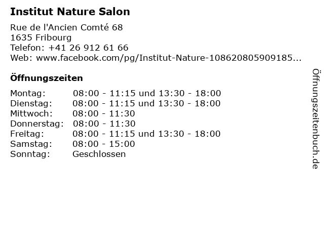 Institut Nature Salon in Fribourg: Adresse und Öffnungszeiten