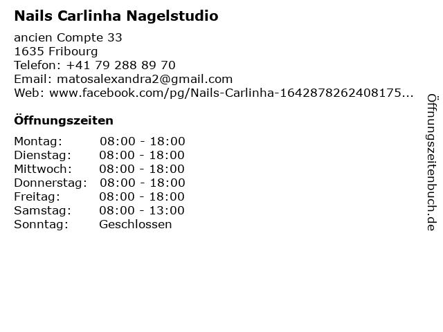 Nails Carlinha Nagelstudio in Fribourg: Adresse und Öffnungszeiten