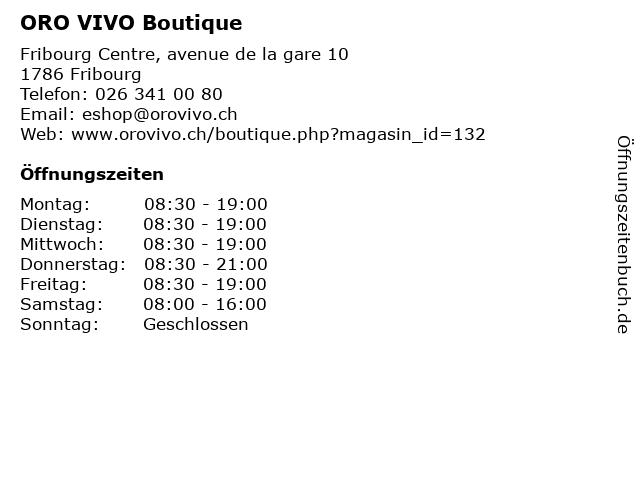ORO VIVO Boutique in Fribourg: Adresse und Öffnungszeiten