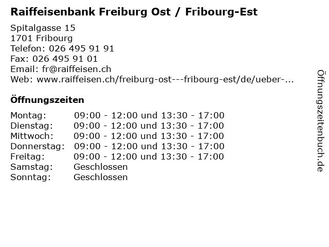 Raiffeisenbank Freiburg Ost / Fribourg-Est in Fribourg: Adresse und Öffnungszeiten