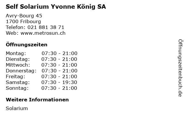 Self Solarium Yvonne König SA in Fribourg: Adresse und Öffnungszeiten