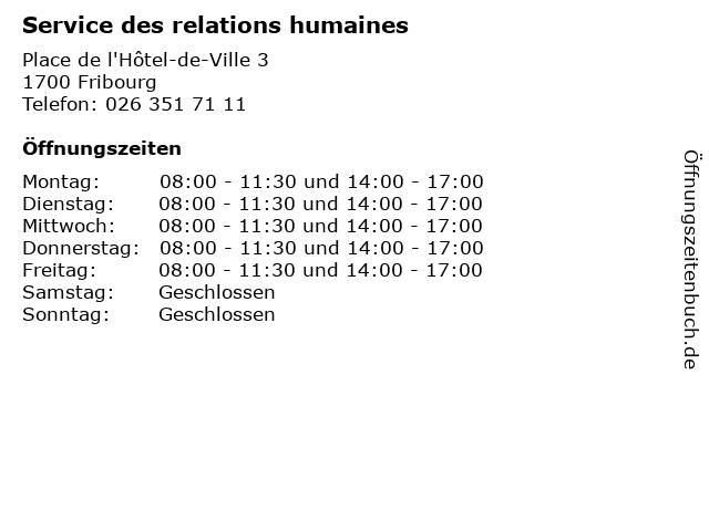 Service des relations humaines in Fribourg: Adresse und Öffnungszeiten