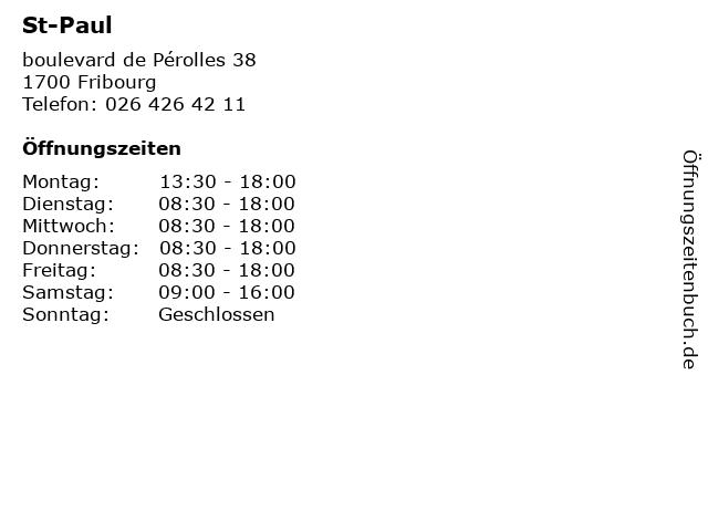 St-Paul in Fribourg: Adresse und Öffnungszeiten