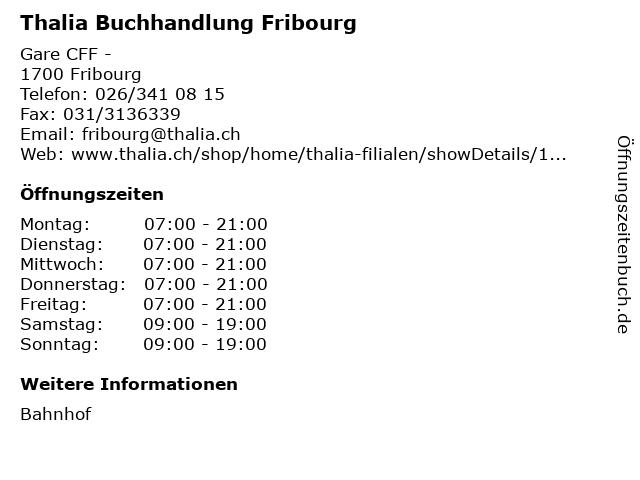Thalia Buchhandlung Fribourg in Fribourg: Adresse und Öffnungszeiten