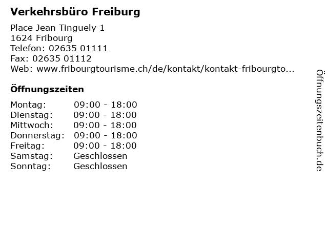 Verkehrsbüro Freiburg in Fribourg: Adresse und Öffnungszeiten