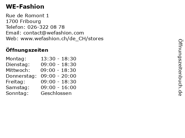 WE-Fashion in Fribourg: Adresse und Öffnungszeiten