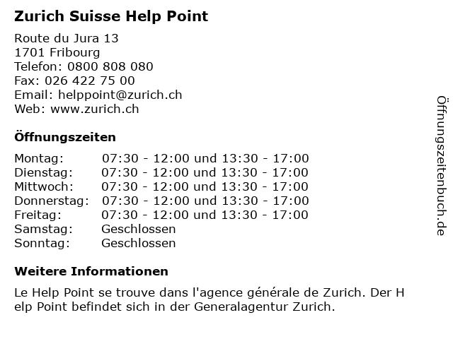Zurich Suisse Help Point in Fribourg: Adresse und Öffnungszeiten