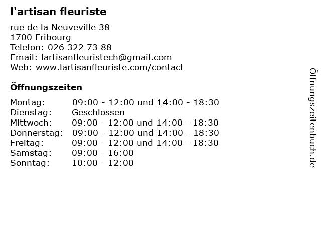 l'artisan fleuriste in Fribourg: Adresse und Öffnungszeiten
