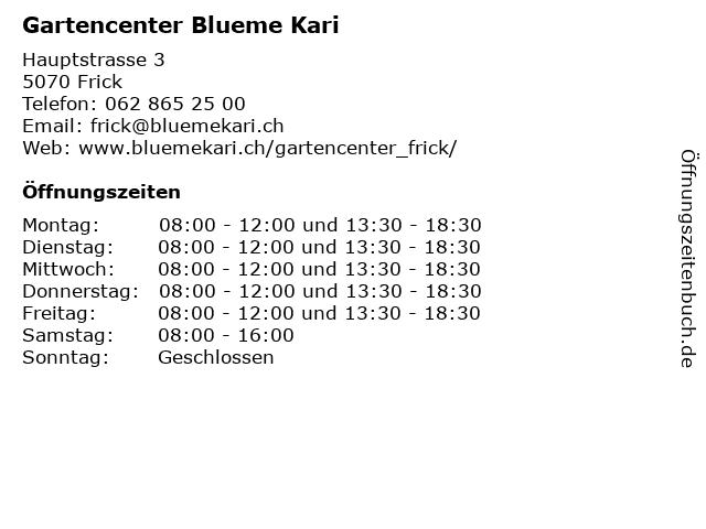 Gartencenter Blueme Kari in Frick: Adresse und Öffnungszeiten