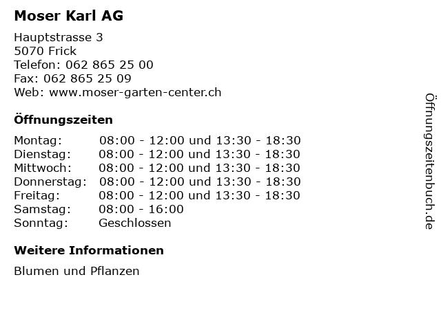 Moser Karl AG in Frick: Adresse und Öffnungszeiten