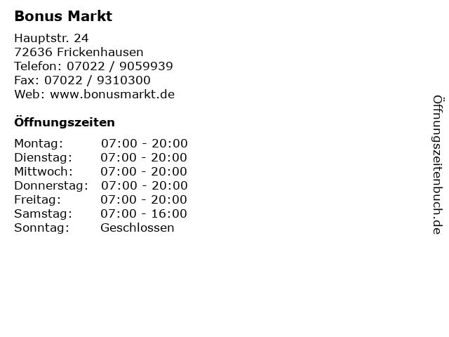 Bonus Markt in Frickenhausen: Adresse und Öffnungszeiten