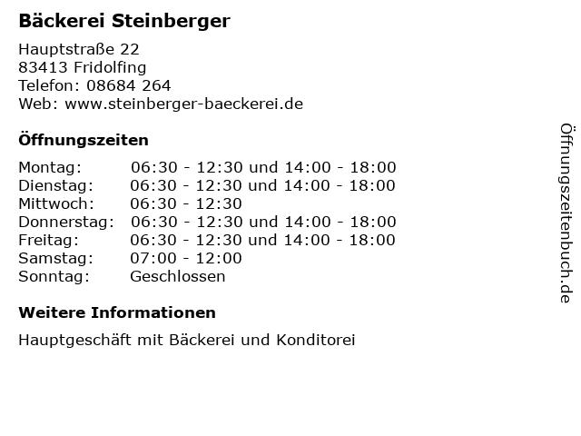 Bäckerei Steinberger in Fridolfing: Adresse und Öffnungszeiten