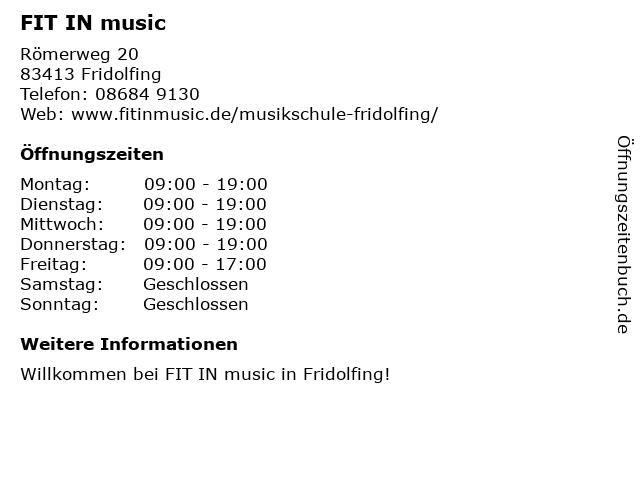FIT IN music in Fridolfing: Adresse und Öffnungszeiten