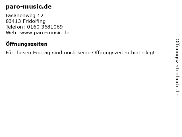 paro-music.de in Fridolfing: Adresse und Öffnungszeiten