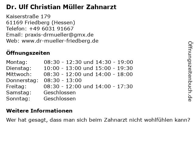 Dr. Ulf Christian Müller Zahnarzt in Friedberg (Hessen): Adresse und Öffnungszeiten