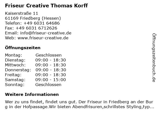 ᐅ öffnungszeiten Friseur Creative Thomas Korff Kaiserstraße 11