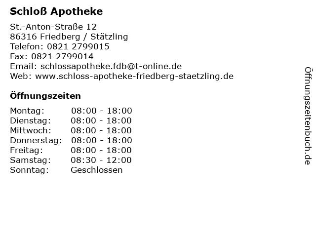 Schloß Apotheke in Friedberg / Stätzling: Adresse und Öffnungszeiten