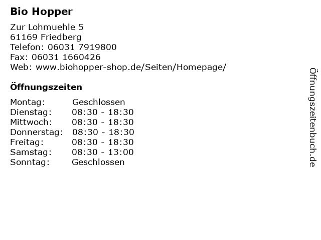 Bio Hopper in Friedberg: Adresse und Öffnungszeiten