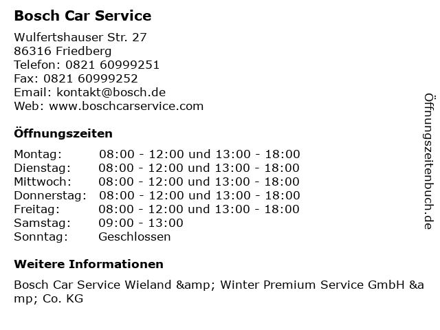 Bosch Car Service in Friedberg: Adresse und Öffnungszeiten