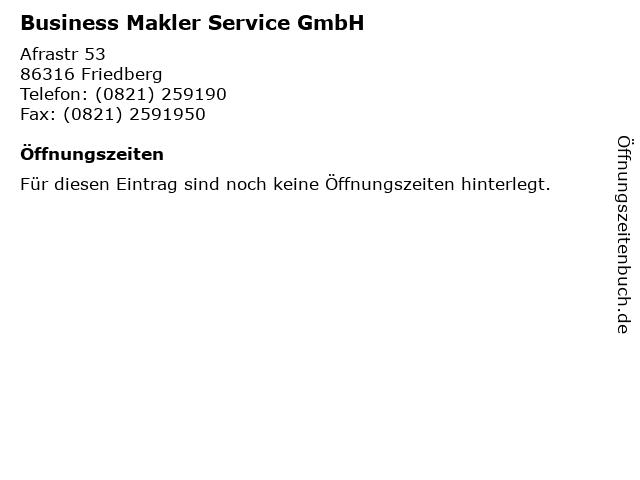 Business Makler Service GmbH in Friedberg: Adresse und Öffnungszeiten