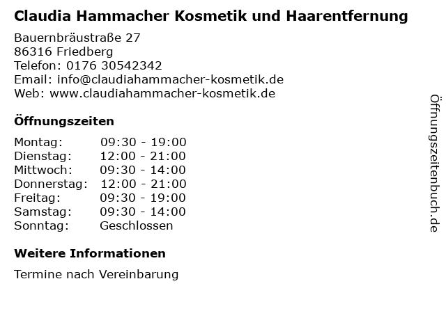 Claudia Hammacher Kosmetik und Haarentfernung in Friedberg: Adresse und Öffnungszeiten