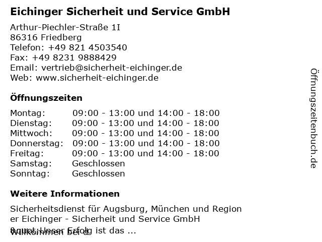 Eichinger Sicherheit und Service GmbH in Friedberg: Adresse und Öffnungszeiten