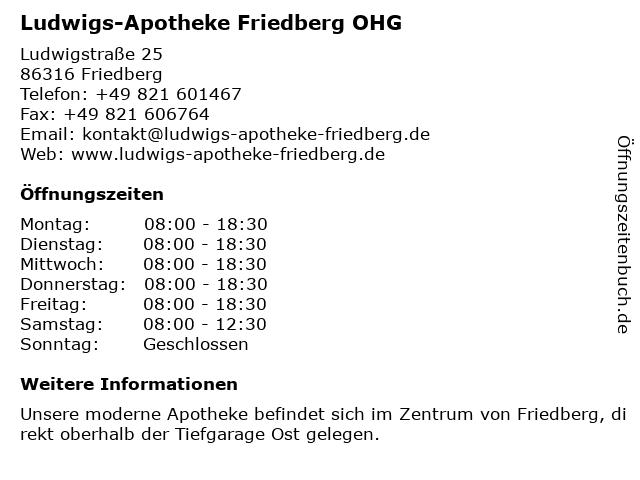 Ludwigs-Apotheke Friedberg OHG in Friedberg: Adresse und Öffnungszeiten