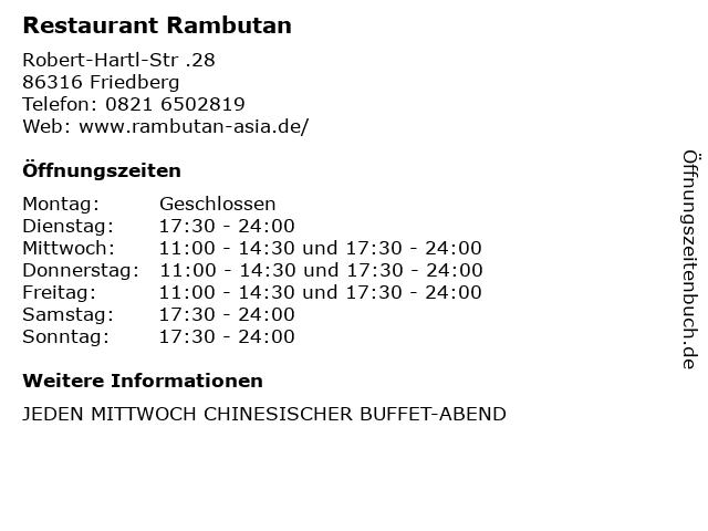 Restaurant Rambutan in Friedberg: Adresse und Öffnungszeiten