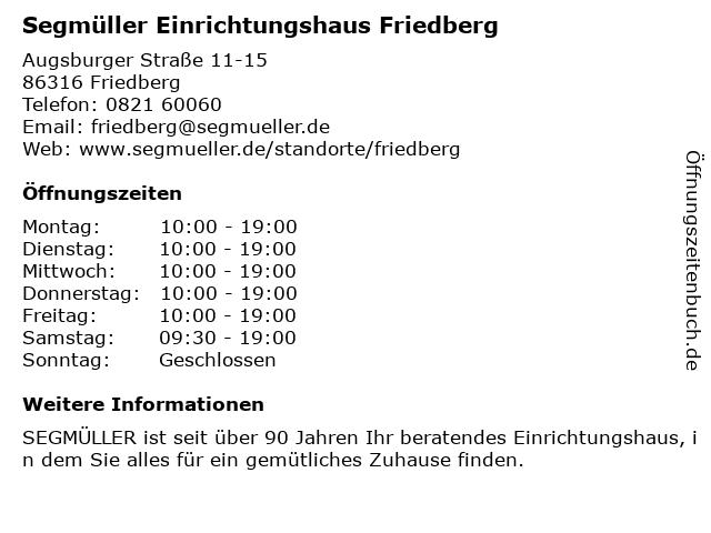 ᐅ öffnungszeiten Segmüller Einrichtungshaus Friedberg