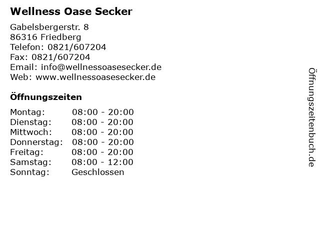 Wellness Oase Secker in Friedberg: Adresse und Öffnungszeiten