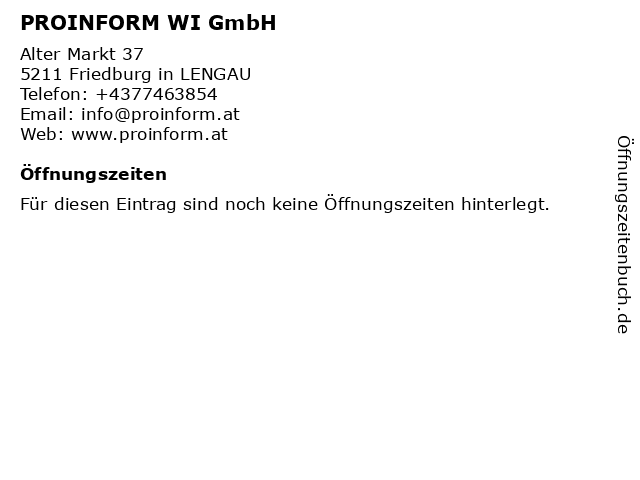 PROINFORM Wirtschaftsinformationen GmbH in Neumarkt: Adresse und Öffnungszeiten