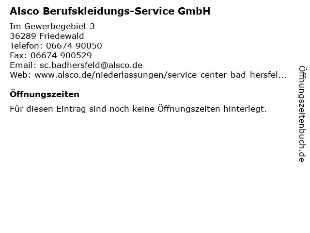 Alsco Berufskleidungs-Service GmbH in Friedewald: Adresse und Öffnungszeiten