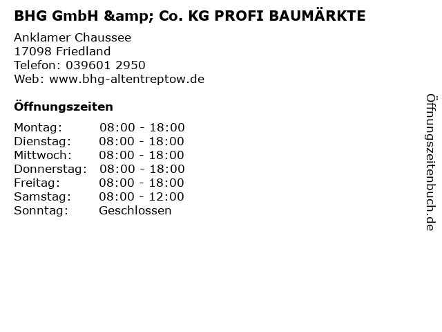BHG GmbH & Co. KG PROFI BAUMÄRKTE in Friedland: Adresse und Öffnungszeiten