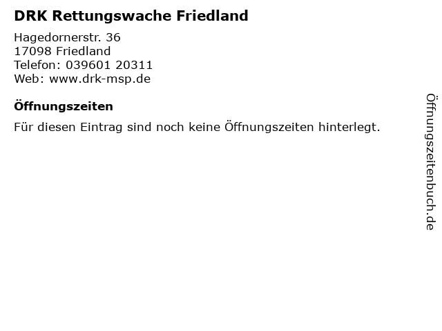 DRK Rettungswache Friedland in Friedland: Adresse und Öffnungszeiten