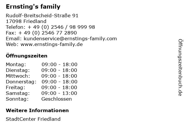 Ernsting's family GmbH & Co. KG in Friedland: Adresse und Öffnungszeiten