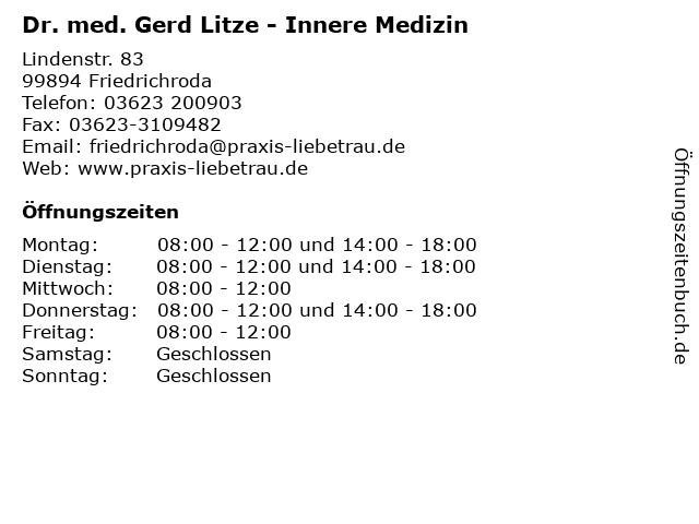 Dr. med. Gerd Litze - Innere Medizin in Friedrichroda: Adresse und Öffnungszeiten