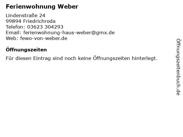 Ferienwohnung Weber in Friedrichroda: Adresse und Öffnungszeiten