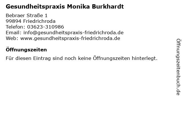Gesundheitspraxis Monika Burkhardt in Friedrichroda: Adresse und Öffnungszeiten