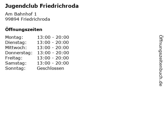 Jugendclub Friedrichroda in Friedrichroda: Adresse und Öffnungszeiten