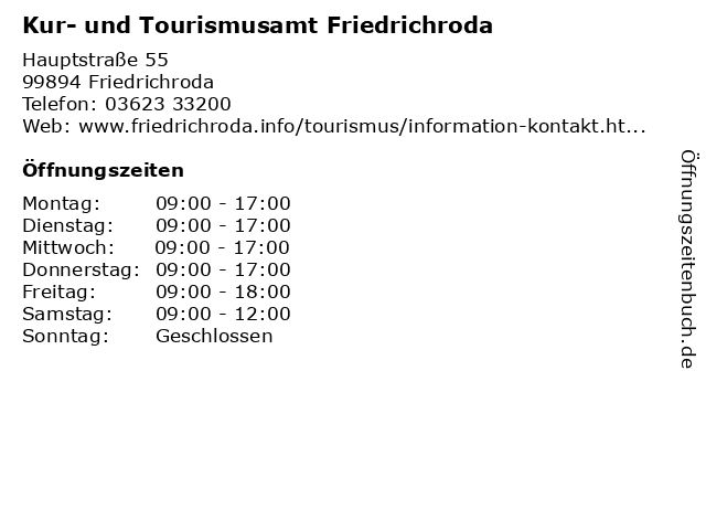 Kur- und Tourismusamt Friedrichroda in Friedrichroda: Adresse und Öffnungszeiten